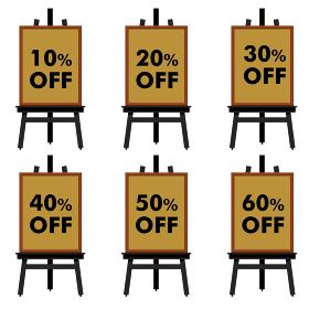 10%~60%オフと書かれたボードとイーゼルのイラストセット 宣伝・販促バナー用イラスト