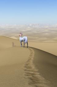 広い砂漠に1人佇む美しいケンタウロスが胸を押さえ近寄ることをためらうポーズをする