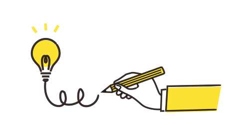 アイデアを生み出すイラストイメージ、黄色とグレーの2色、ベクターイラストレーション