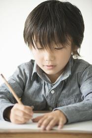 勉強をする小学生