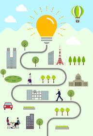 縦長のバナー・挿絵 / 豆電球と人々の日常風景 ベンチャービジネス・アイデア・インスピレーション