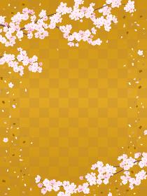 市松模様の背景と桜(縦長)