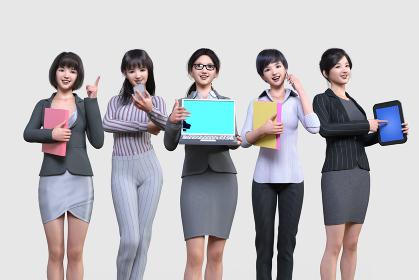 いろんな職種の働く女性5人が横一列に並ぶ