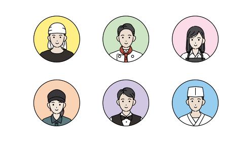 料理人 シェフ 調理師 顔 アイコン 飲食店の店員 人々 イラスト素材