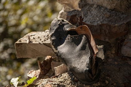 Old shoe abandoned in the woods