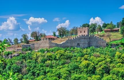 Fortification walls of Tsarevets fortress in Veliko Tarnovo, Bulgaria