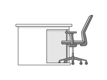 横から見たオフィスデスクとオフィスチェアのイラスト