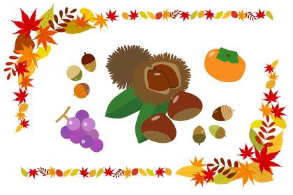 秋の紅葉フレームと収穫物セット