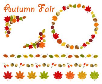 秋の紅葉フレームや飾りセット