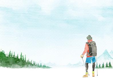 登山 ハイキング トレッキング 人物 男性 水彩 イラスト