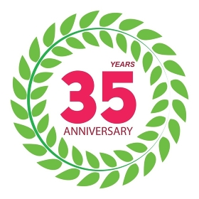Template Logo 35 Anniversary in Laurel Wreath Vector Illustration EPS10. Template Logo 35 Anniversary in Laurel Wreath Vector Illustratio