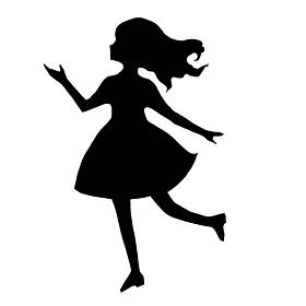 踊っている女の子のシルエットの切り絵風モノクロのイラスト