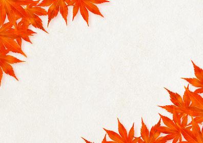 上下に紅葉のある背景 麻混和紙