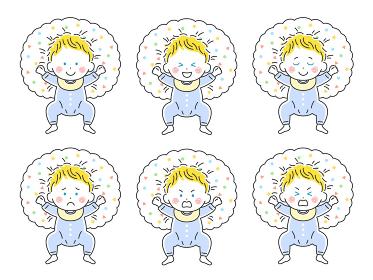 ベビー服を着て授乳クッションで寝転ぶ白人の赤ちゃんのイラストセット