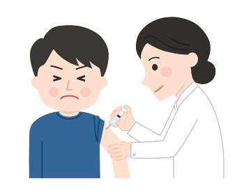 ワクチン接種 痛がる男性イラスト