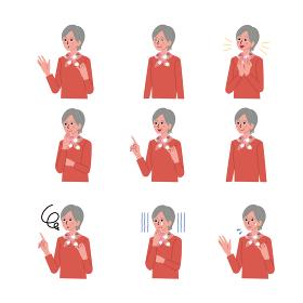 シニア女性の表情 上半身のイラスト