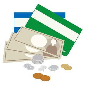 現金と通帳のイラスト
