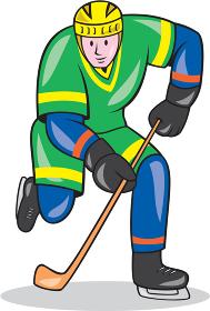 Ice Hockey Player With Stick Cartoon