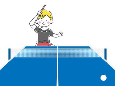 卓球をする白人男性のイラスト