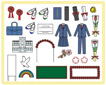入学式と卒業式のイラスト素材