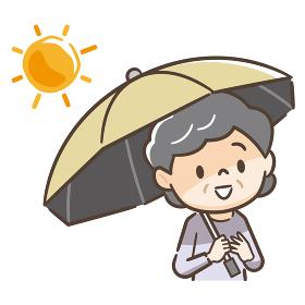 日傘をさす高齢者女性のイラストレーション