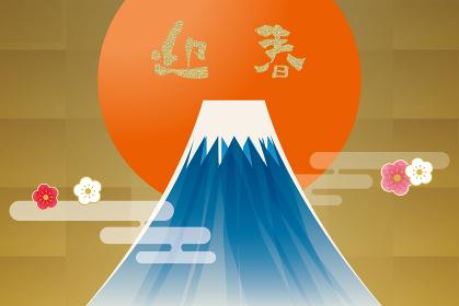 汎用年賀状デザイン イラスト金箔背景初日の出と富士山 和風テイスト迎春令和New Year's ca