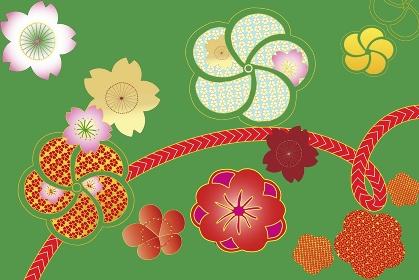 花の紋様と帯紐