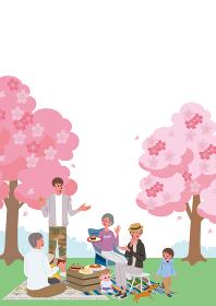 お花見をする三世代親子のイラスト ピクニック キャンプ