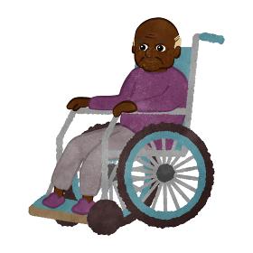 車いすに座っているおじいさん アフリカンアメリカ人バージョン
