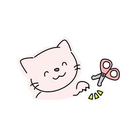 猫の爪切りのイラスト(ピンク)
