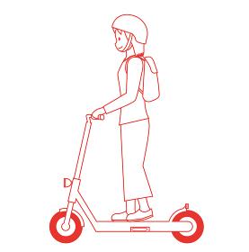 線画ラインアート人物 女性と電動キックスクーター 電動キックボードのイラスト