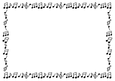 モノクロ音符のイラストフレーム