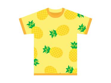 パイナップル柄のTシャツののイラスト