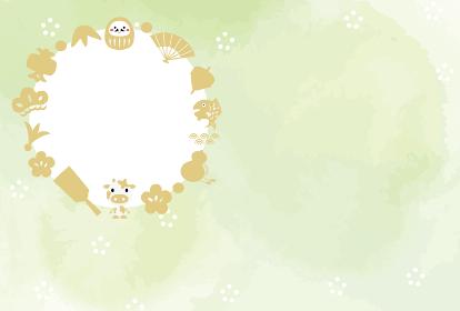 縁起物 花輪 フォトフレーム 年賀状イラスト