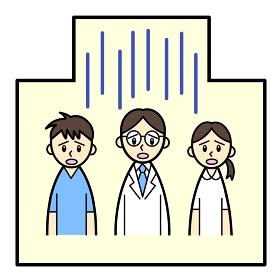 疲れた顔の医療従事者3人