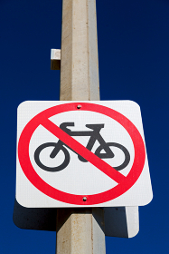 in  australia   the sign of no bike in the clear sky