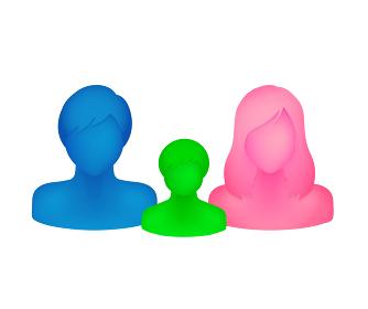 抽象的・立体的な人物シルエットイラスト(上半身) /親子・家族・父母と子供