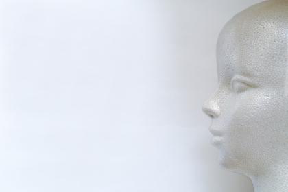 発泡スチロール製モデル人形の左向きの横顔