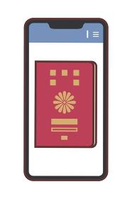 スマホの画面に表示されたパスポートのイラスト(パスポートの電子化・線あり)
