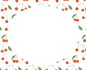 さくらんぼ サクランボ チェリー 白 模様 枠 手描き イラスト