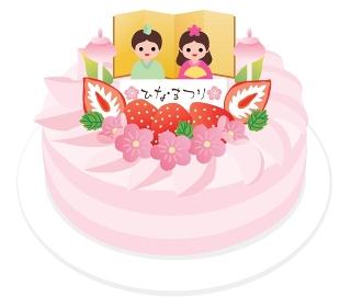 ひな祭りのピンクの苺ケーキ