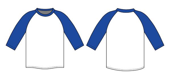 アパレルテンプレート / ラグラン半袖Tシャツ べクターイラスト