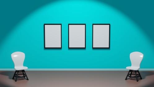 緑色の壁の暗い展示室 3DCGポスター 無地フレーム 白い椅子