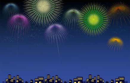 打ち上げ花火と街並みシルエットのイラスト