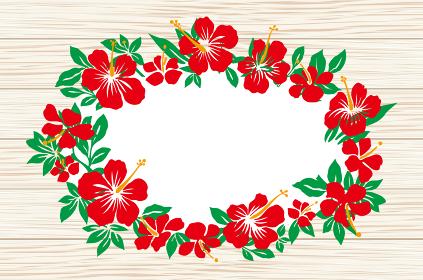 イラスト素材:白い木の板の背景とハイビスカスと葉のフレーム夏のイメージ暑中見舞い