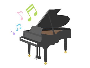 楽器のピアノを演奏するイラスト