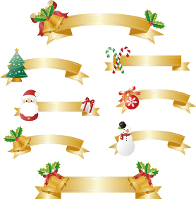 クリスマス リボン リボンテープ コピースペース イラスト素材セット