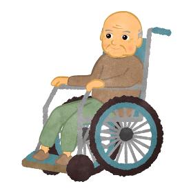 車いすに座っているおじいさん