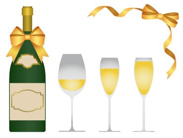 白ワインとワインボトルとリボンのイラストセット
