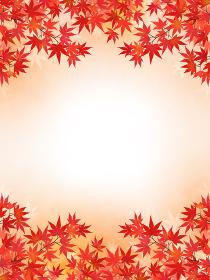 和紙風・水彩画風加工 モミジの背景・フレーム素材(縦向き)